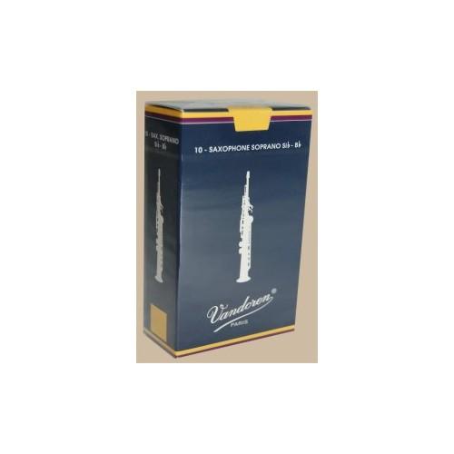 Vandoren Traditional Soprano Saxophone Reed, Strength 2.5, Box of 10