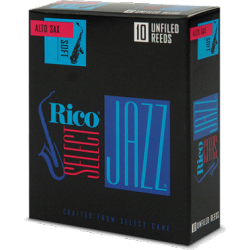 D'Addario Select Jazz Alto Saxophone Reed, Strength 2, Unfiled (Hard), Box of 10