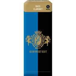 Rico Grand Concert Select Bass Clarinet Reed, Strength 3.5, Box of 5