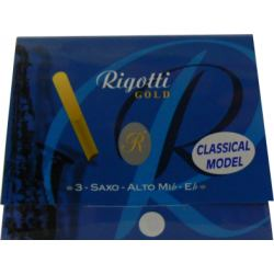Rigotti Gold Classic Alto Saxophone Reed, Strength 2, Box of 3