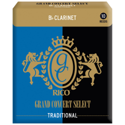 Rico Grand Concert Select Bb Clarinet Reed, Strength 2, Box of 10