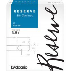 D'Addario Reserve Bb Clarinet Reed, Strength 3.5+, Box of 10