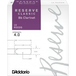 D'Addario Reserve Bb Clarinet Reed, Strength 4, Box of 10
