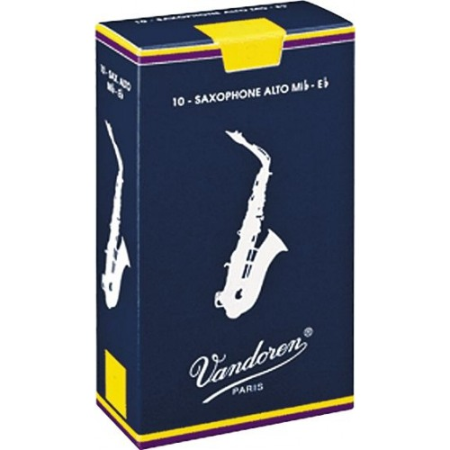 Vandoren Traditional Eb Alto Saxophone Reed, Strength 1, Box of 10
