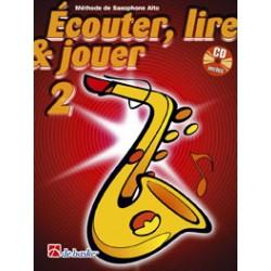 """Saxophone Learning Book """"Écouter, Lire et Jouer"""" (Alto, Baritone) - De Haske, Volume 2 + CD (French)"""