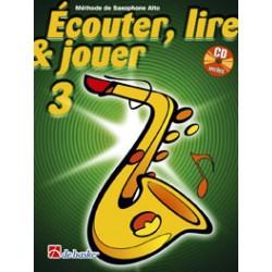 """Saxophone Learning Book """"Écouter, Lire et Jouer"""" (Alto, Baritone) - De Haske, Volume 3 + CD (French)"""