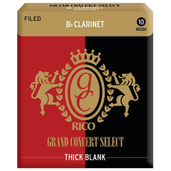 Rico Grand Concert Select Thick Blank Bb Clarinet Reed, Strength 2, Box of 10