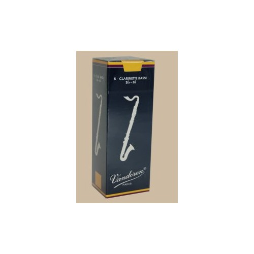 Vandoren Traditional Bass Clarinet Reed, Strength 1.5, Box of 5