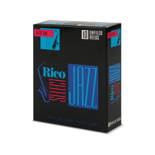 D'Addario Select Jazz Alto Saxophone Reed, Strength 3, Unfiled (Medium), Box of 10
